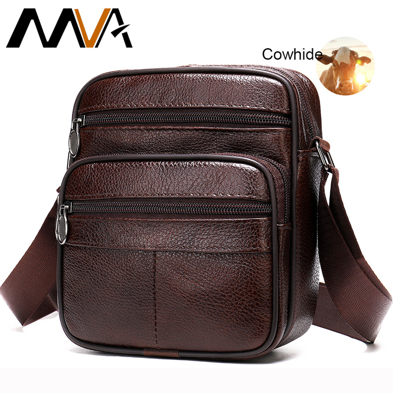 MVA Men's Bag Genuine Leather Casual Male Men's Shoulder Bag For Men Flap Zipper Men Crossbody Bag Leather Messenger Handbags