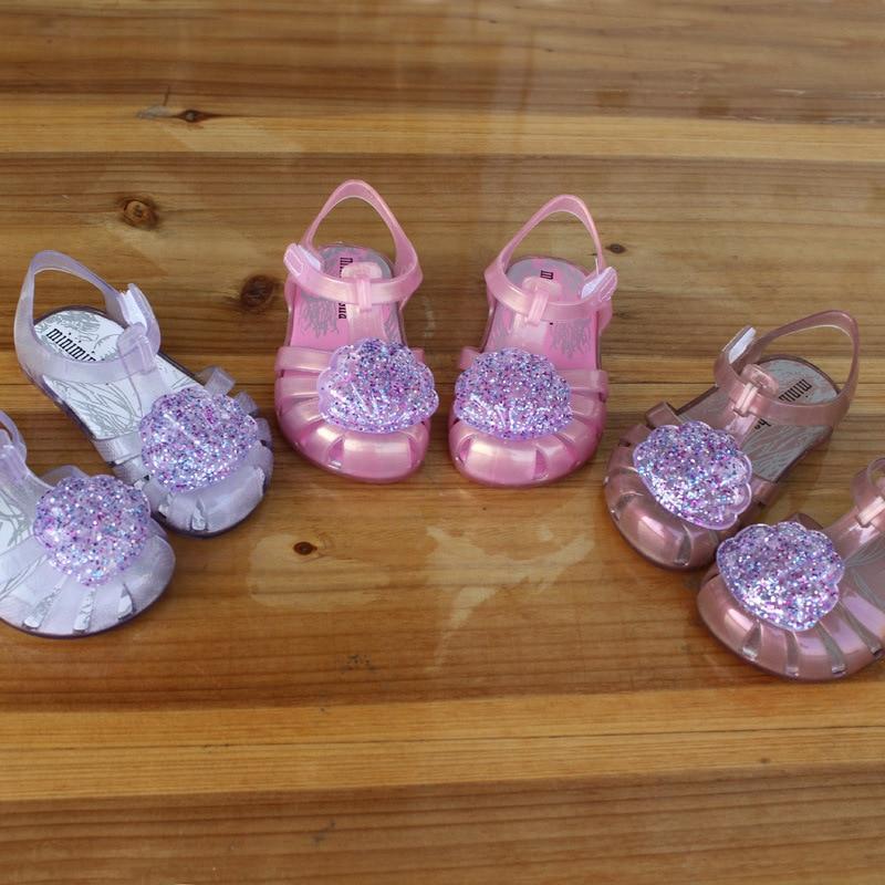 2020 Summer Girls Sandals Sequin PVC Jelly Mini Melissa Sandalia Infantil Children Shell Fashion Baby Princess SO001