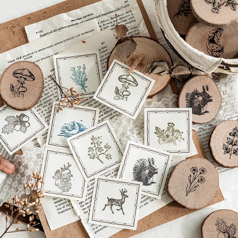 AngelHere Store 1Pcs Vintage Wooden Rubber Stamp Plant Decoration Stamp For Scrapbooking Stationery DIY Craft Standard Stamp