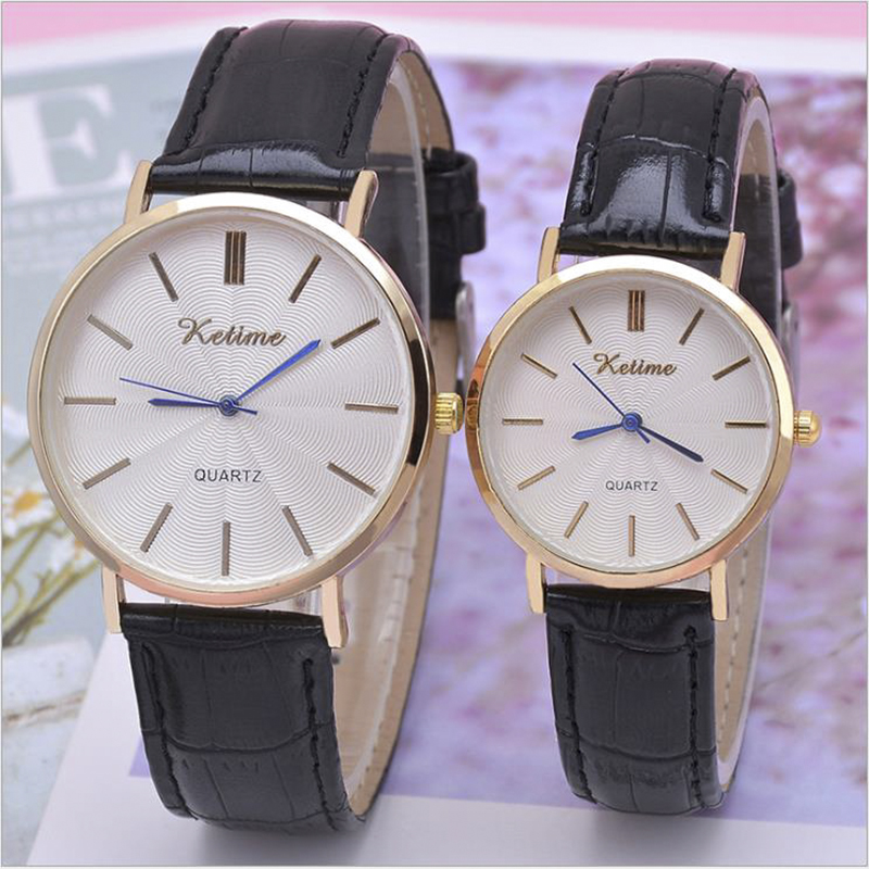 Couple Quartz Watches Ore Glass Alloy Genuine Leather  Buckle Men Women Wrist Watch Business Lover Gift Clock Quelques Montres
