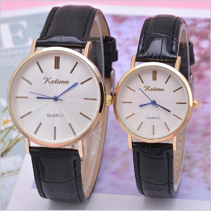 Couple Quartz Watches Ore Glass Alloy Genuine Leather  Buckle Men Women Wrist Watch Business Lover Gift Clock Quelques Montres