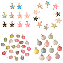 10pcs/Set Jewelry Drop Oil Conch Starfish Sea Shell Alloy Pendant DIY Bracelet Earrings Making Handmade Accessories(China)