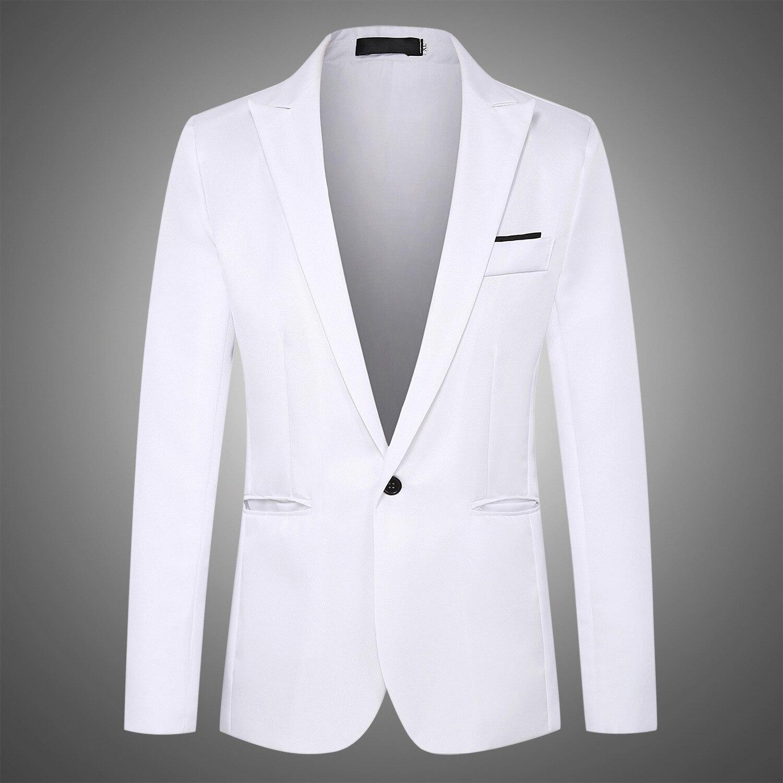 Korean Version Fashion Body Repair Leisure One Buckle Small Suit Man Mens Stage Jackets  Men White Blazer  Slim Blazer In Men