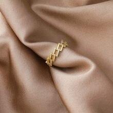 2021 coreano novo requintado quadrado escalonado anel moda simples temperamento aberto anel jóias femininas