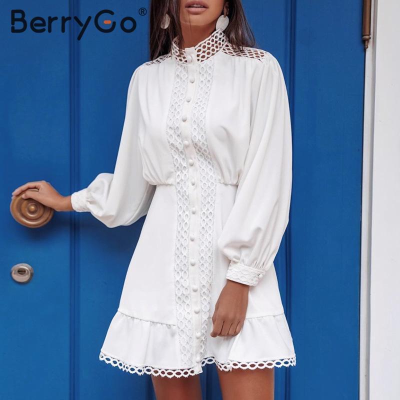 BerryGo Mermaid Hollow Out White Dress Women Long Sleeve Ruffle Summer Dresses Casual Spring Geometric Pockets Mini Short Dress