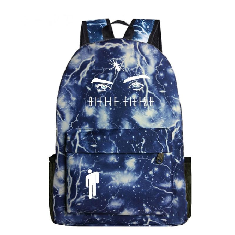 Купить с кэшбэком High Quality Billie Eilish Harajuku print schoolbag Mochila bag cartoon boy and girl school bag