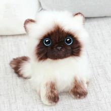 Simulação siamês gato brinquedo de pelúcia azul lantejoulas olhos gato boneca de pelúcia marrom e branco rosto ragdoll de pelúcia gato decoração de casa boneca brinquedos