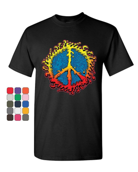 Peace Sign Ameoba T-Shirt Happy Love Hippie Dream Joy Happiness Mens Tee Shirt Outfit Tee Shirt