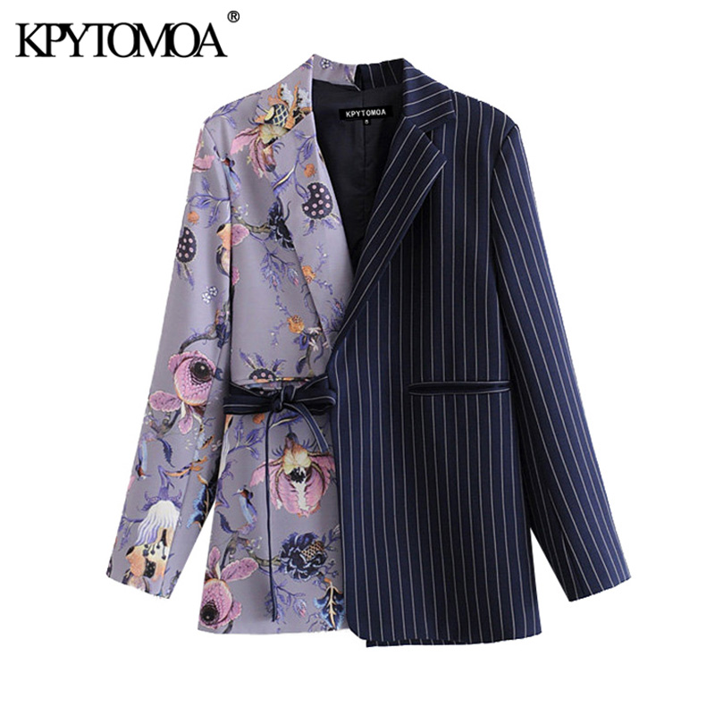 KPYTOMOA Women 2020 Fashion Office Wear Floral Print Patchwork Blazer Coat Vintage Pockets With Belt Female Outerwear Chic Tops
