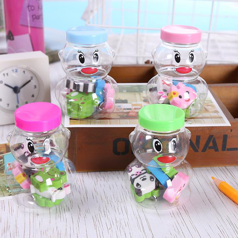 6 Pcs/pack Kawaii Bear Milk Bottle Shape Animals Erasers Rubber Pencil Erasers Stationery Children Students Christmas Gifts