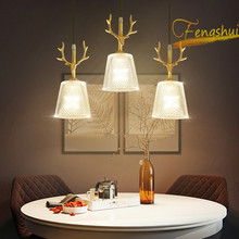 Modern LED glass pendant lights lighting full copper forged glossy deer head cpendant lamp for art deco hotel loft hanging lamp