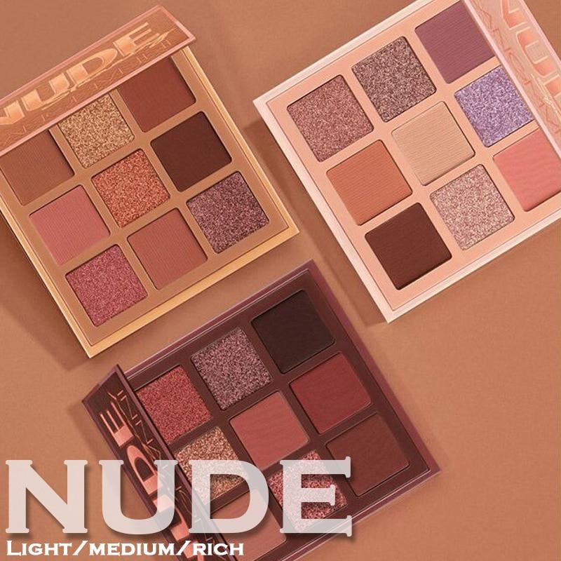 9 Colors Nude Eyeshadow Kit Matte Glitter Eyeshadow Palette Makeup Diamond Glitter Metallic Shiny Nude Eye Pigment Cosmetics(China)