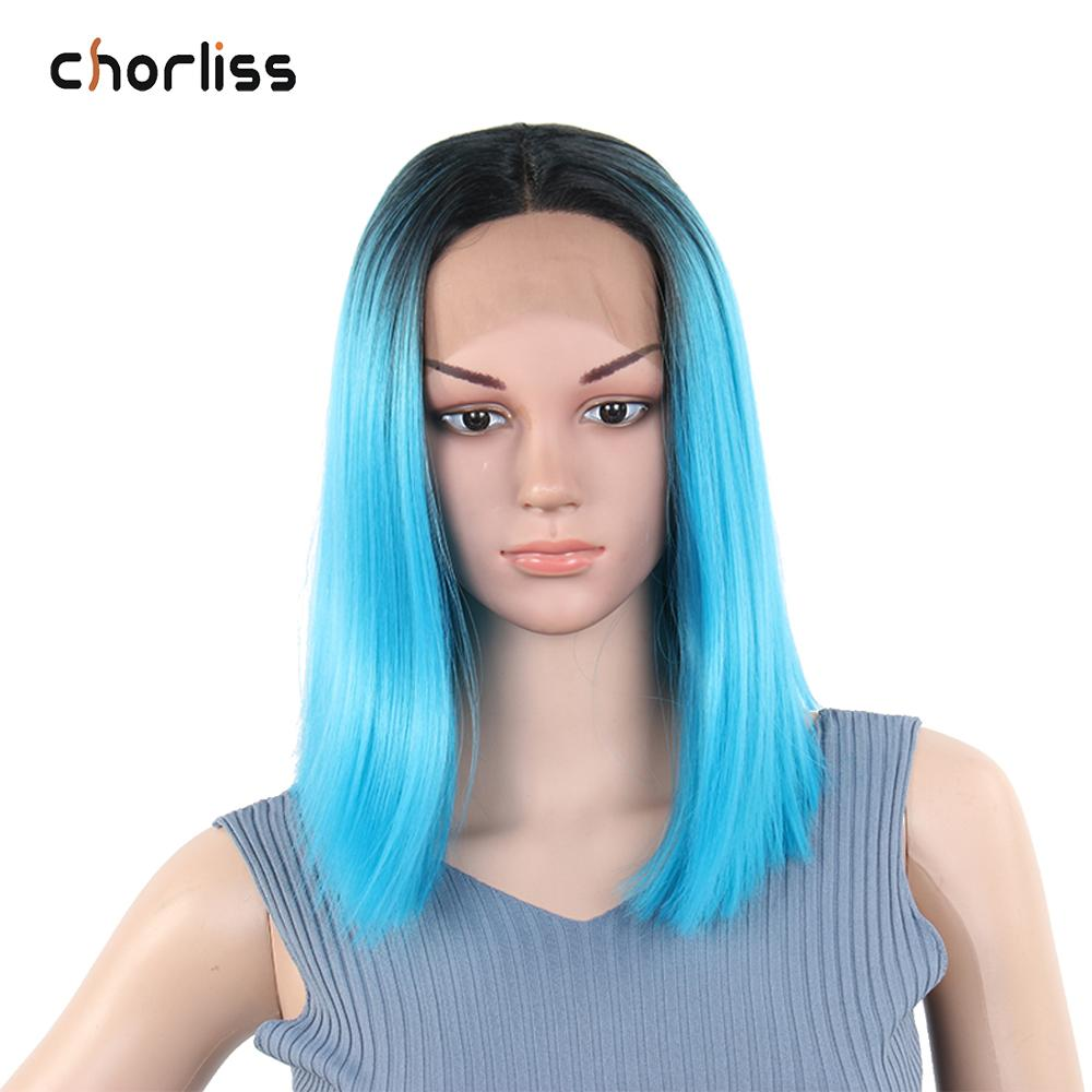 Short Yaki Straight Ombre Light Blue Women Synthetic Wigs Lace Front Wig Chorliss Middle Part Heat Resistant Cosplay Wig Party