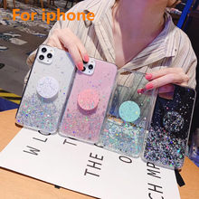 Rosa brilho dedo anel titular caso do telefone para iphone 11 pro max 7 plus epóxi bling capas para iphone x xr xs max 6s 7 8 plus(China)