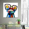 Fuwatacchi Colorful Frog With With Glasses Abstract Oil Painting on Canvas Print Poster Modern Art Wall Pictures For Living Room 2