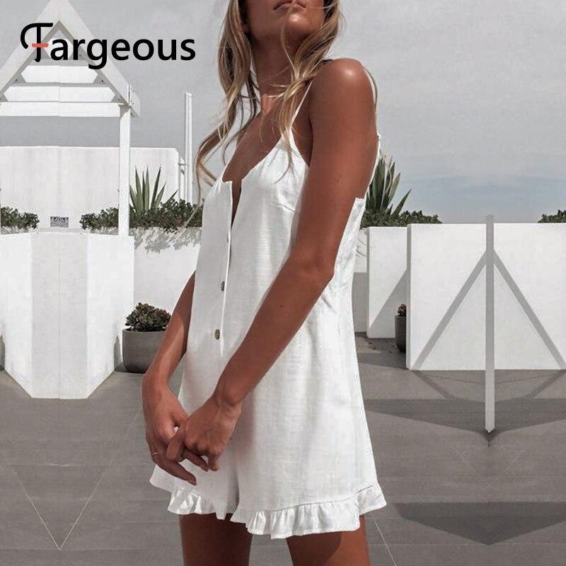 Fargeous повседневный комбинезон на бретельках 2020 летний женский свободный однотонный короткий комбинезон с рюшами женский пляжный праздничн...