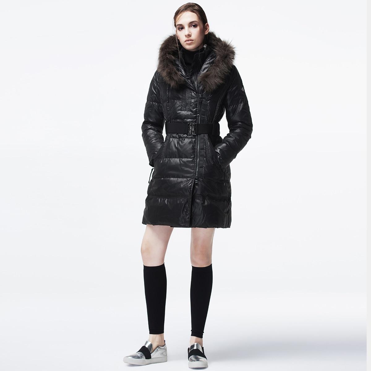 Autumn Winter Jacket Women Fashion Women's Down Jacket Racoon Fur Collar Long Coat Female Double-necked Campera KJ553