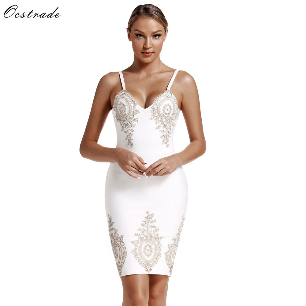 Ocstrade Sexy Night Club Dress Bandage 2019 Spring Summer New Arrival Embroidered Women White Bandage Dress Bodycon Party Dress