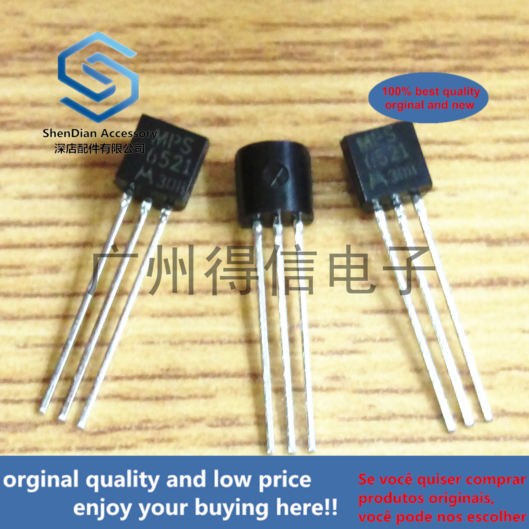 10pcs 100% New And Orginal MPS6521 6521  40V 0.1A 625MW Amplifier Transistors TO-92  In Stock
