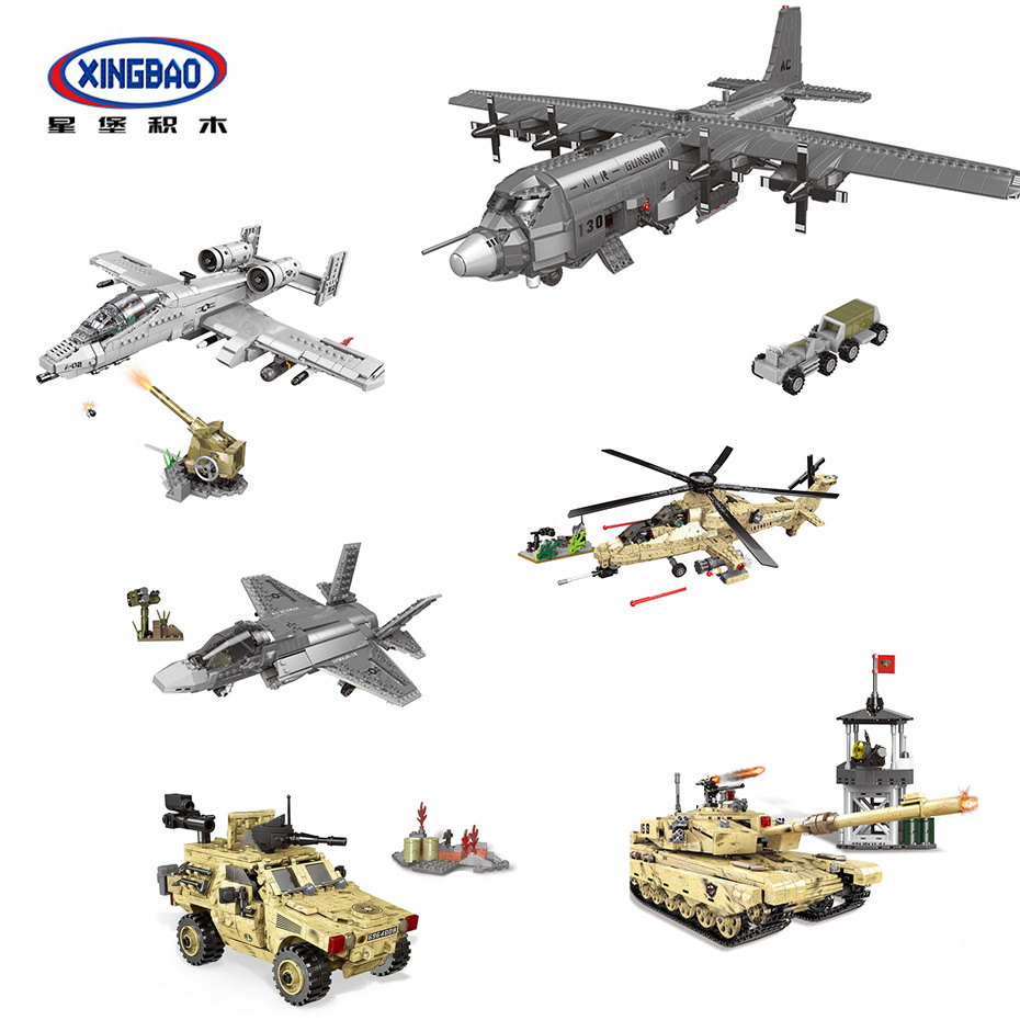 XINGBAO NEW 06021-06026 WW2 Military Battle Series Airplane Tank Helicopter Armored Car Set Building Blocks MOC Bricks Jugetes