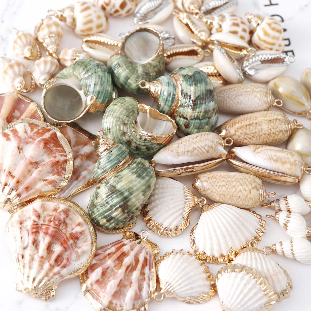 5pcs Natural Seashell Metal Crafts Ornaments For Pendant Shells Necklace Pendant Making Alloy Beads DIY Jewelry Accessory