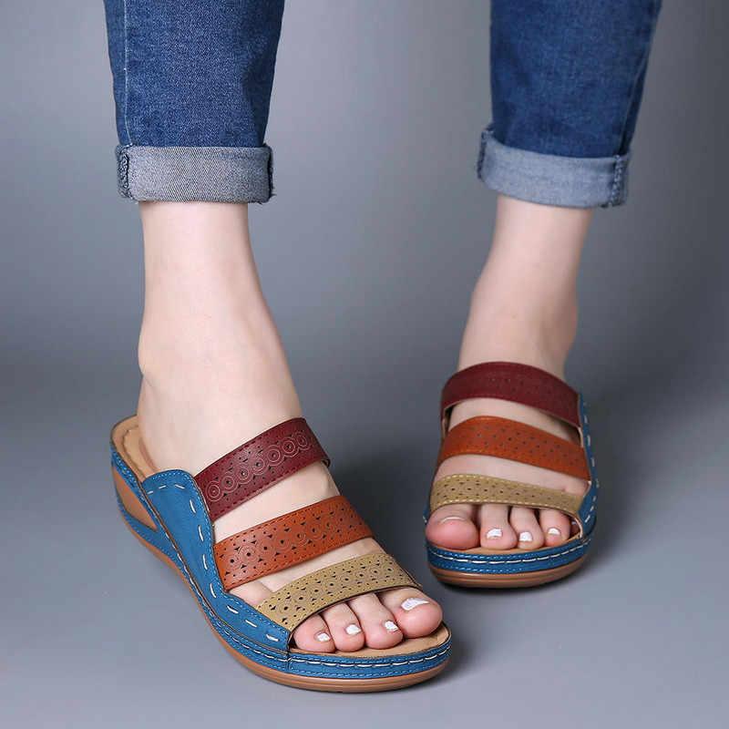 Monerffi Mùa Hè Cho Nữ Thời Trang 3-Phối Màu Màu Sắc Giày Gót Thấp Peep Toe Giày Dép Giày