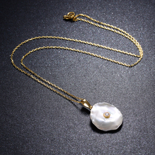 925 Sterling Silver Necklace For Women Real Natural Freshwater Pearl Pendants Flat Baroque Gold Necklace Party Jewelry Gift недорого