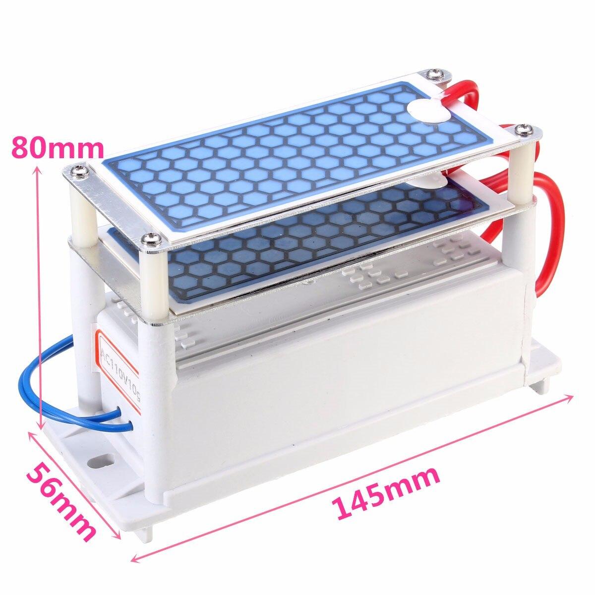 DIY AC 110V 220V 10g O3 Ozone Generator Disinfection Sterilization Portable 10000Mg/H Machine Blue Plates Treatment 50W