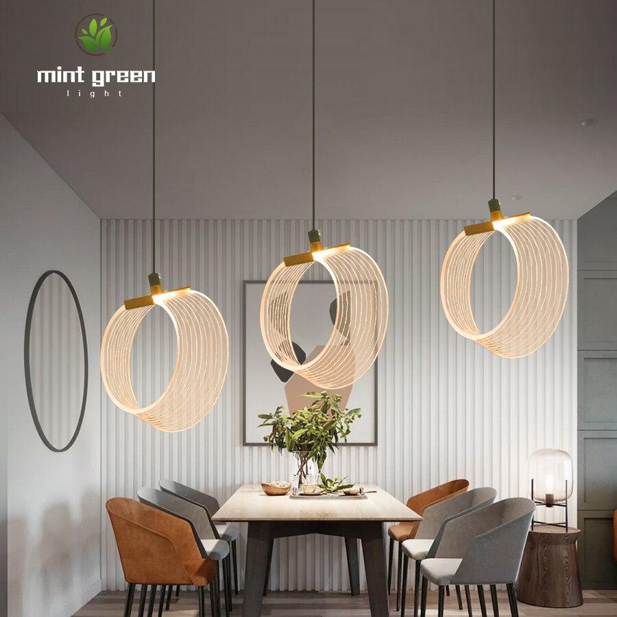 Loft Modern Pendant Light Acrylic Decoration Hanging Lamp Kitchen Light Fixture Dining Hanglamp Living Room Luminaire