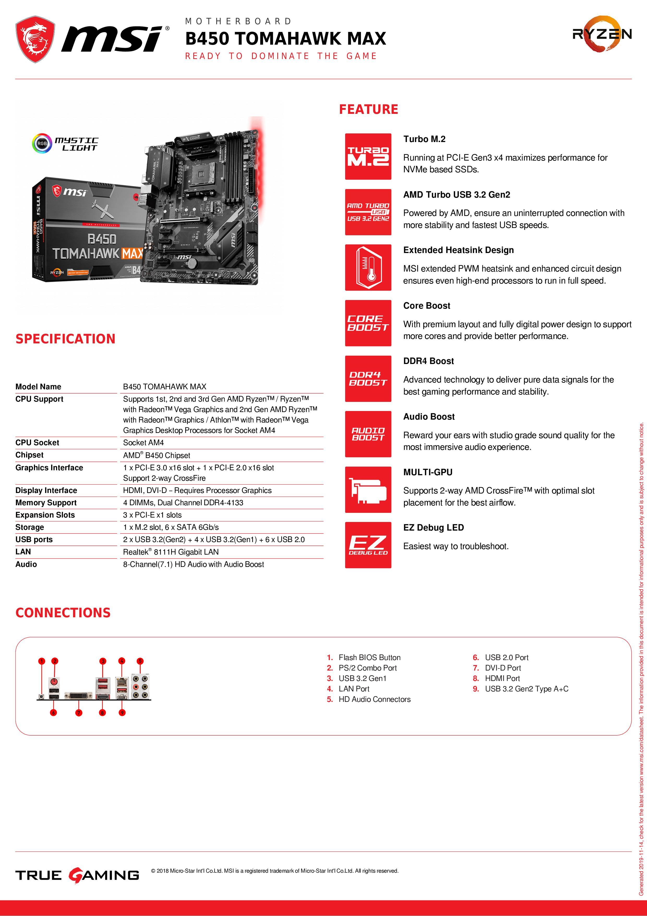 Материнская плата MSI b450 tomahawk max amd ryzen 3rd cpu am4 gaming M.2 USB 3,1 4xDDR4 Crossfire ATX b450 новая материнская плата 2011