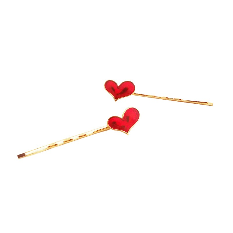 1Pair New Fashion Women Girl Hairpins Red Heart Hair Clip Delicate Dripping Oil Hair Pin Hair Styling Accessories Free Shipping