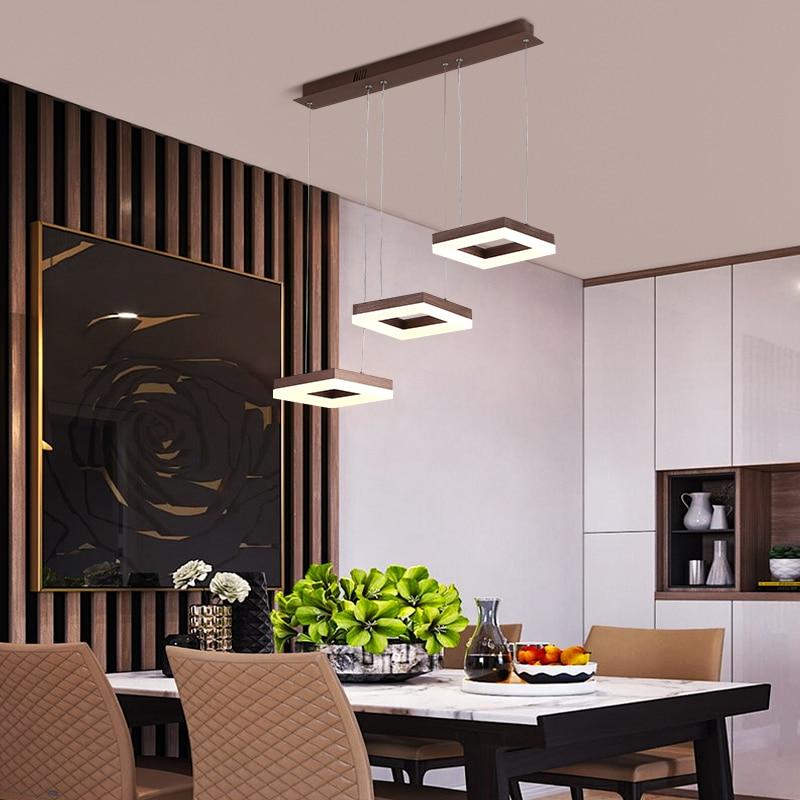 Lámpara colgante nórdica LED cuadrada de 3 cabezales con Control remoto para sala de estar, dormitorio, cocina, accesorio de luz colgante, decoración del hogar