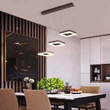 Nordic pingente lâmpada led 3 cabeças quadrado com controle remoto para sala de estar quarto cozinha pendurado luminária decoração para casa