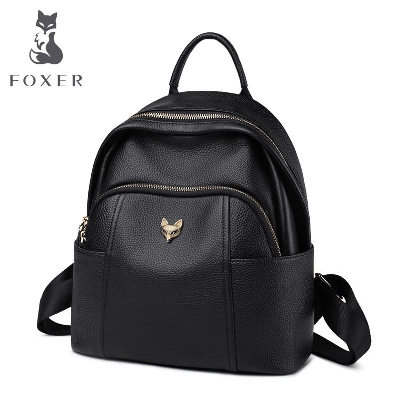 FOXER Genuine Leather Girl's  School Bag Feminina Casual Multifunction Women Travel Backpack Soft High Quality Ladies Rucksacks