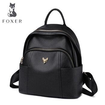 Foxer saco de escola da menina de couro genuíno feminina casual multifuncional mochila de viagem macio alta qualidade senhoras mochilas