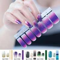 Glitter Powder Gradient Color Stickers Nail Wraps Full Cover Nail Polish Sticker DIY Self-Adhesive Nail Art Decoration Beauty