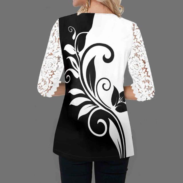 Women Blouse Plus Size Boho Shirt 2020 Autumn Butterfly Print Lace Splice Shirts Ladies V-neck Casual Shirt Pullovers Femme Tops 2