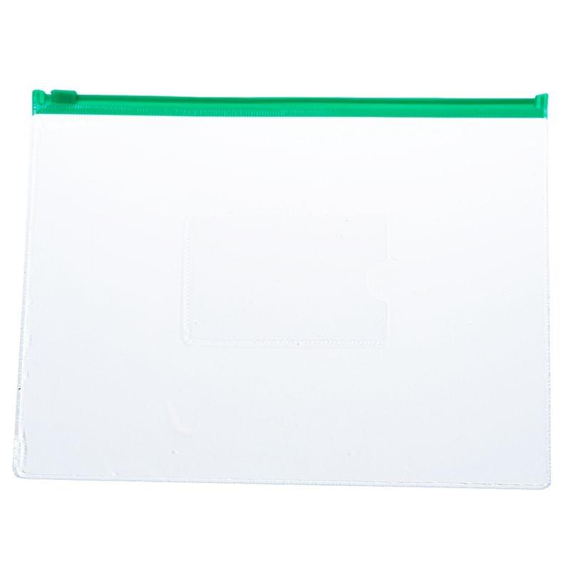 20 Pcs Green Clear Size A5 Paper Slider Zipper Closure Closure Folders Files Bags