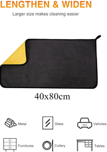 Image 2 - 40x80CM 600GSM Microfiber Towel Car Wash Cloth Auto Cleaning Door Window Care Thick Strong Water Absorption Rags For Car Home