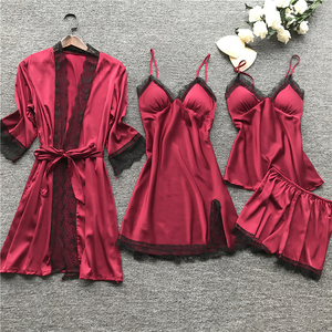 Women's Pajamas 4 pcs Sets Silk Satin Solid Sleepwear Set Sexy Pajamas With Pad Ladies Lace Night Suits Homewear Clothes