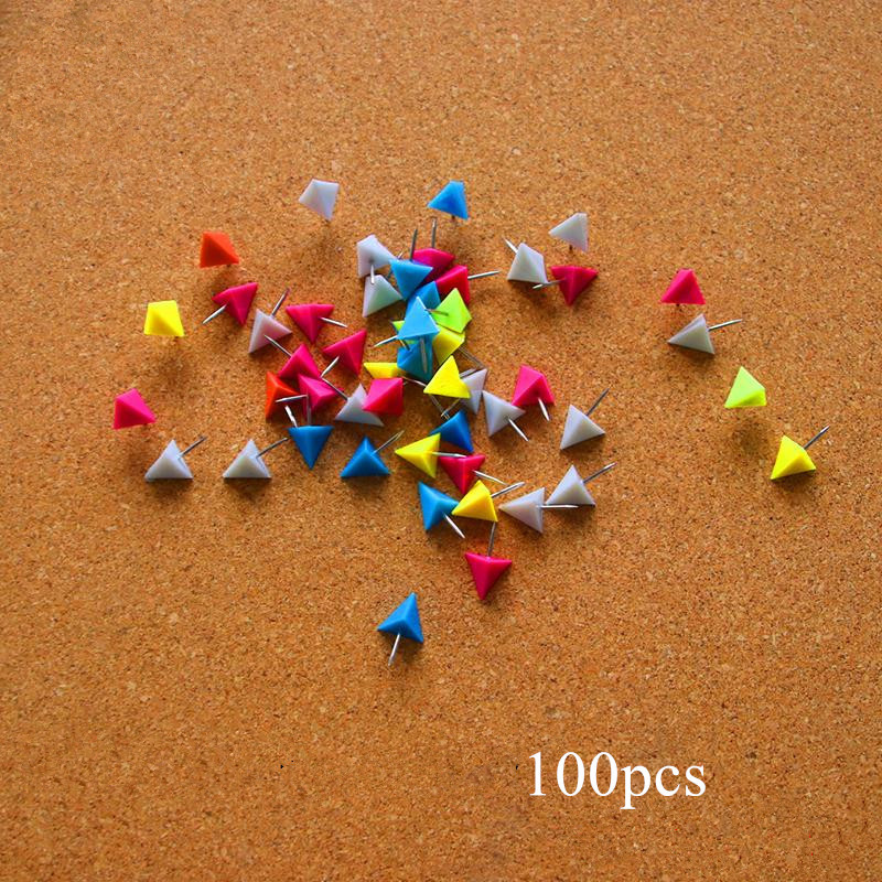 100pcs Plastic Push Pins For Cork Board Decorative Map Marker Thumb Tack Triangle Drawing Pin Creative Office Stationery