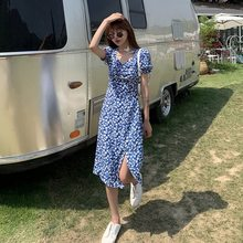 Dress Summer 2020 New Women's Chiffon Floral Dress High Waist Square-Collar And V-Neck French Retro Slim Midi Skirt(China)