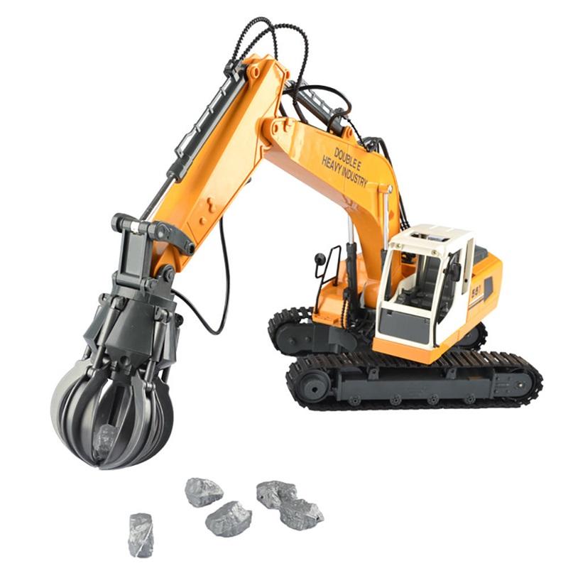Double E E561-003 Radio Control Hydraulic Quartering Hammer DIY RC Excavator Alloy 3 In 1 Gripper with Mini Basketball for Boy