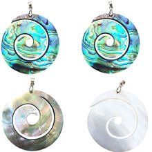 Free shipping Fashion Jewelry Black Mother of Pearl & New Zealand Abalone Shell Art Pendant Bead WB834(China)