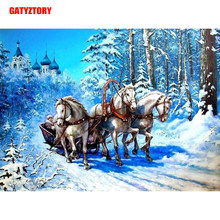 Gatyztory 5D Diamant Schilderij Vol Plein Diy Home Decor Mozaïek Strass Foto Custom Logo Canvas Paard Fleet In De Sneeuw(China)