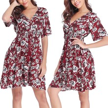 2019 Boho dress Women Floral Printed Button Up Half Sleeve Split Flowy Party Dignified Noble Trend Elegant Summer Mini Dress mesh checkered flowy dress