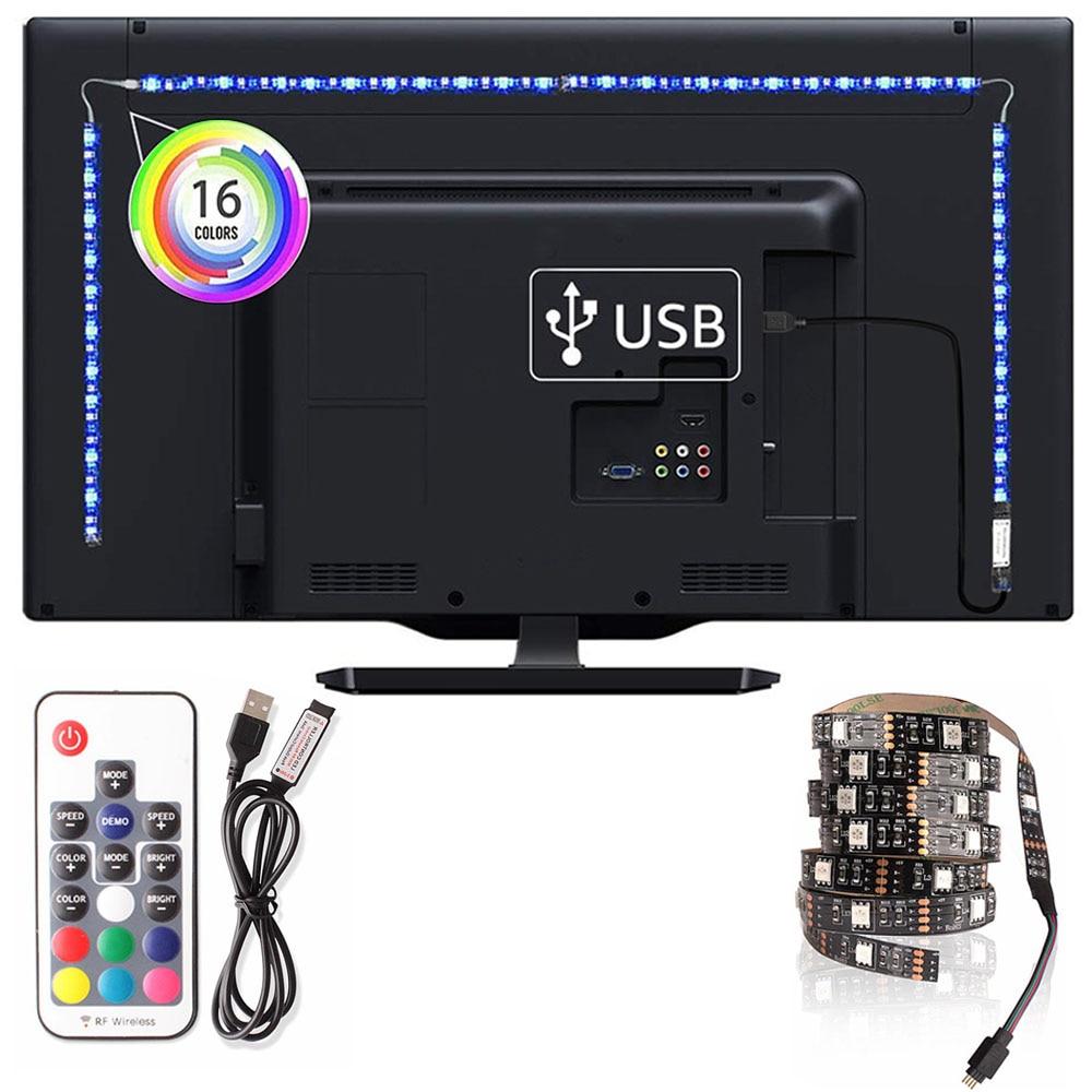 SMD 5050 RGB LED Strip USB TV Background Lighting 0.5M/1M/2M/3M/4M/5M Diode Tape 5V LED Strip Lights For Living Room Decoration