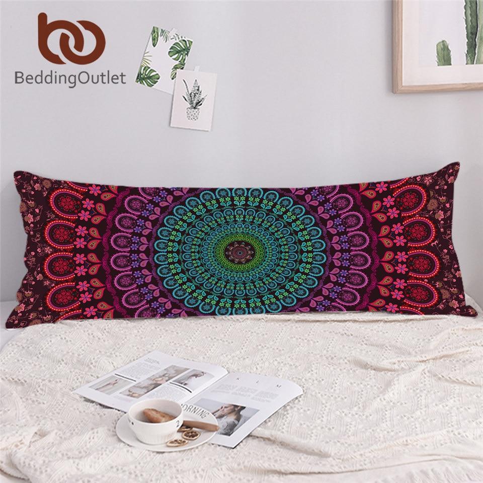 BeddingOutlet Bohemia Body Pillow Case with Zipper Long Pillowcase 1pc Boho Floral Large Pillow Cover for Adult Kids 54cmx138cm 1