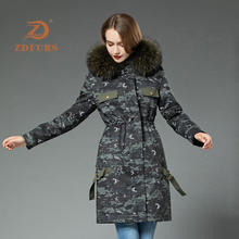 ZDFURS*2019 New Rex Rabbit Fur Parka Women Winter Jacket Raccoon Hooded Coats  Long Detachable Inner Camouflage