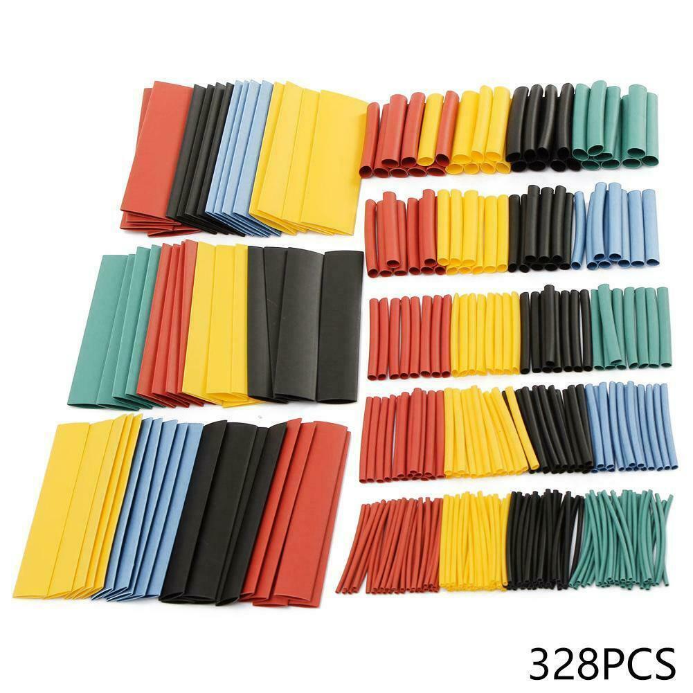 328pcs Cable Heat Shrink Tubing Sleeve Wire Wrap Tube 2:1 Assortment Kit Set